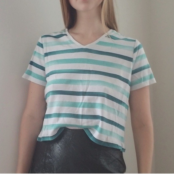 3afe28b01519 Studioworks Tops | 90s Blue And White Striped Crop Top | Poshmark